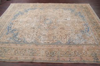Antique Muted Distressed Worn Pile Oriental Area Rug Pale Peach Blue Beige 9x12