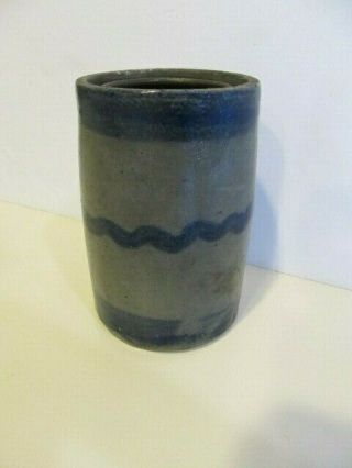 Ca 1860 Stoneware Canning Jar With Cobalt Stripes