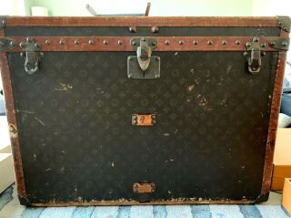 Louis Vuitton Vintage Antique Steamer Trunk W/ Monogram From 1930