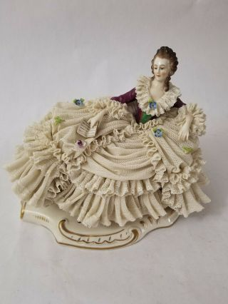 Antique Sitzendorf Dresden Lace Lady W/ Book Early 1900