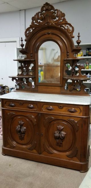 Victorian Ornate Buffet Sideboard With Mirrored Topper Marble Top