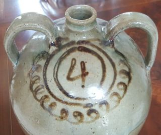 Edgefield pottery Thomas Chandler double handled jug Southern stoneware 2
