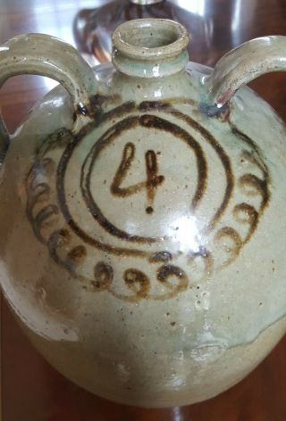 Edgefield pottery Thomas Chandler double handled jug Southern stoneware 9