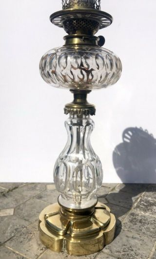 Antique Facet Cut Glass Oil Lamp With Fount On Brass Base By Hinks And Sons