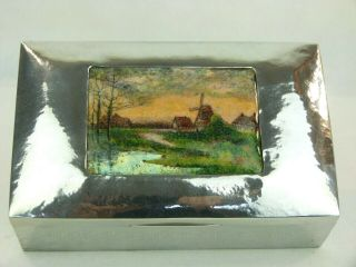 A Very Rare Liberty & Co Tudric Pewter Box With Stunning Countryside Enamel