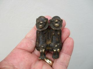 An Antique African? Bronze Figure Of Two Men 18/19th C ?