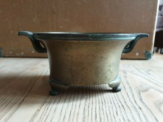 Antique Chinese Bronze Censer With Handles & Signed 6 Character Mark