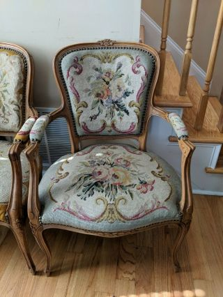 French Louis Xv Style Needlepoint Arm Chairs -
