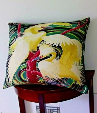 Vintage Mid Century Barkcloth Heron Egret Rare Huge Pillow Art Deco Era
