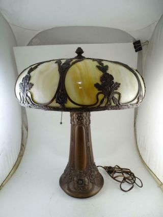 Antique Arts & Crafts Slag Glass Table Lamp Bronze Spelter Flower Art Nouveau