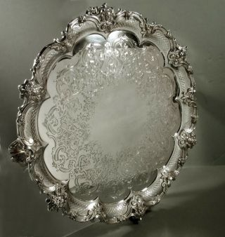 English Sterling Tray 1879 Bacchus Masks - 117 Oz.