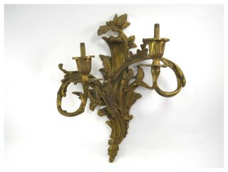Antique 19th Century French Rococo Gilt Bronze Ormolu Two Sconce Wall Light