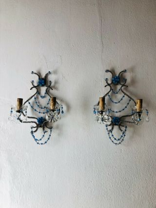 C 1920 French Rare Lavender Opaline One Of A Kind Sconces