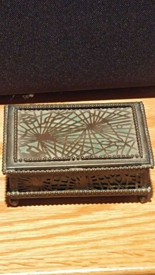 Antique Tiffany Studios Pine Needle Bronze Favrille Glass Trinket/coin Box