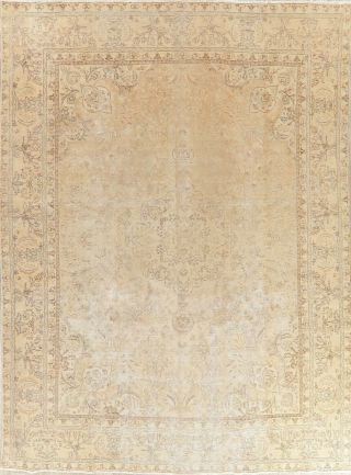 Muted Antique Oriental Floral Area Rug Wool Hand - Knotted Traditional 9x13 Carpet