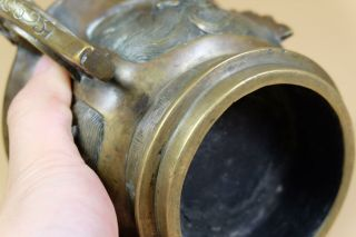 Antique Chinese Bronze Censer With Ear Handles. 12