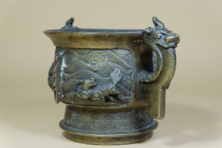 Antique Chinese Bronze Censer With Ear Handles. 2