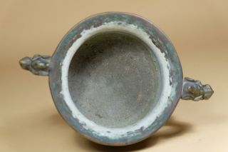 Antique Chinese Bronze Censer With Ear Handles. 6