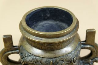 Antique Chinese Bronze Censer With Ear Handles. 8