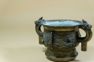Antique Chinese Bronze Censer With Ear Handles. 9