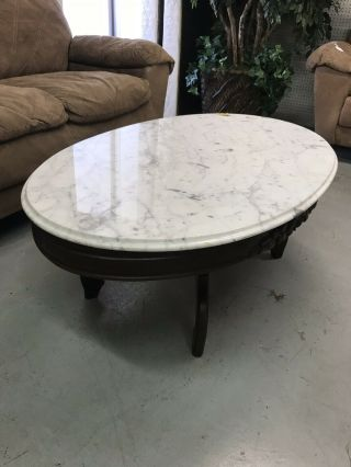 Rosewood Oval Marble Top Coffee Table