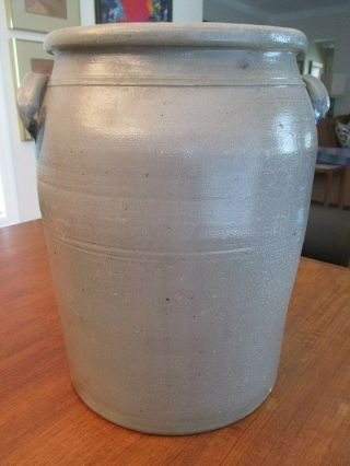 Vintage STONEWARE 4 GALLON CROCK Blue Floral Primitive NM 3
