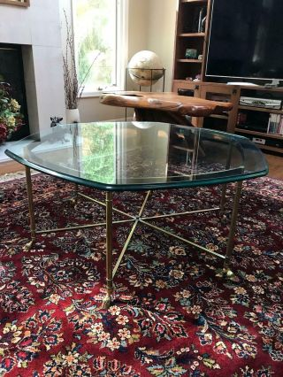 Vintage Labarge Style Hexagon Glass Coffee Table With Brass Hoof Foot