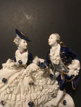 Dresden Lace Porcelain Figurine From Germany Unterweissbach Courting Couple