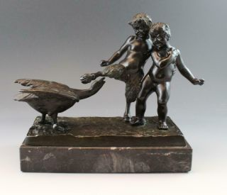 C1890s French Bronze Figural Sculpture Satyr W/ Goose & Cherub W/ Marble Base