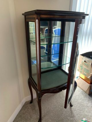 Cherry Wood Glass Curio Cabinet With Burled Inlay