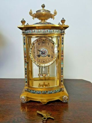 French Champleve Regulator Gilt Bronze Clock Cloisonne Enamel Glass 19th Century
