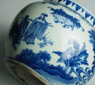 Fine & rare Chinese Transitional porcelain potiche with figures,  Chongzhen 1640 12