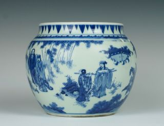 Fine & rare Chinese Transitional porcelain potiche with figures,  Chongzhen 1640 2