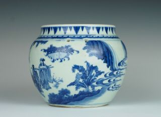 Fine & rare Chinese Transitional porcelain potiche with figures,  Chongzhen 1640 3