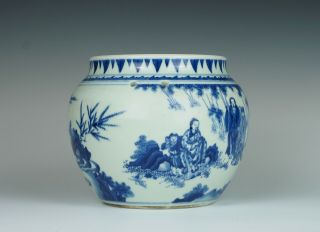 Fine & rare Chinese Transitional porcelain potiche with figures,  Chongzhen 1640 4