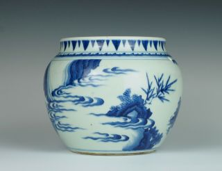 Fine & rare Chinese Transitional porcelain potiche with figures,  Chongzhen 1640 5