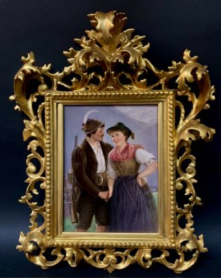 19th C.  Berlin Kpm Porcelain Plaque With Florentine Gilt Frame
