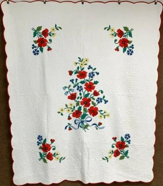 Summer Flowers Vintage Bouquet Applique Quilt Lush Quilting