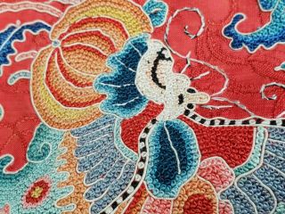 A antique embroidered red silk Chinese robe 10