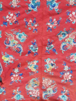 A antique embroidered red silk Chinese robe 11