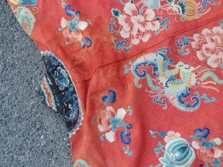A antique embroidered red silk Chinese robe 12