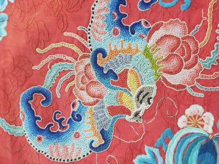 A antique embroidered red silk Chinese robe 2