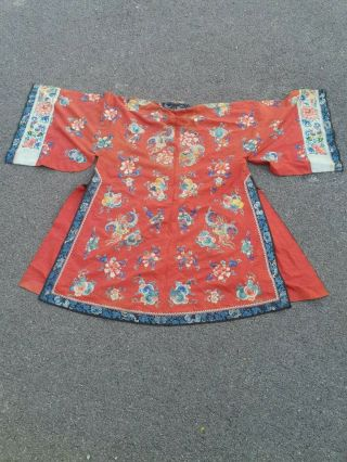 A antique embroidered red silk Chinese robe 3
