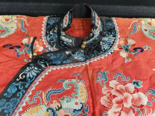 A antique embroidered red silk Chinese robe 5