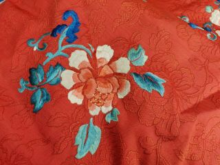 A antique embroidered red silk Chinese robe 7