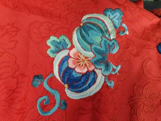 A antique embroidered red silk Chinese robe 8