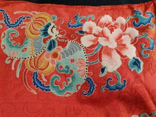 A antique embroidered red silk Chinese robe 9
