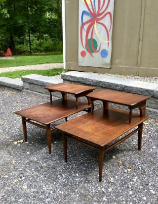 Pair Vintage Danish Modern Side / End Tables Mid Century Modern 50s 60s Walnut