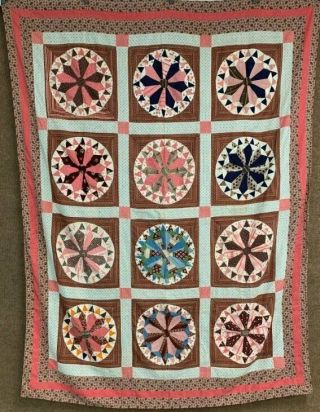 Early C 1830 - 40s Prints Wheel Quilt Top Antique Prussian Blue Browns Pinks