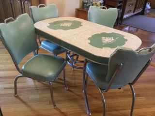 50's Formica & Chrome Lotus Cracked Ice Dinette Set